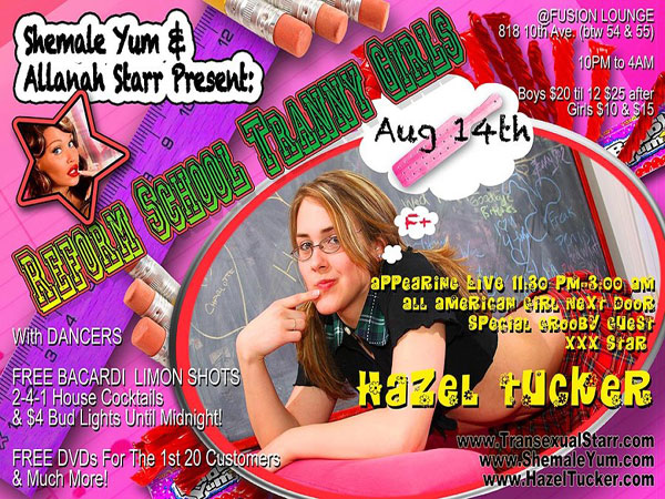 hazel reformschool Reminder: Join Hazel Tucker At Allanah Starrs Reform School Tranny Girls Party!