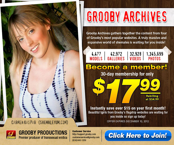 groobyarchives discount A Massive Collection Of Shemale Pornstars At Your Fingers!