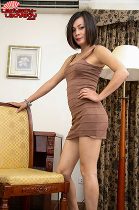 t ladyboy ice ladyboy ladyboy 01 Ladyboy Ice Strips Out Of Her Brown Dress On Ladyboy Ladyboy!