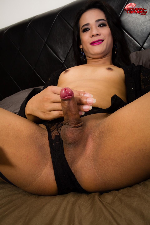 asian ladyboy shows her big cock
